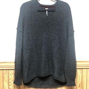 Free People High Low V-Neck Alpaca Sweater